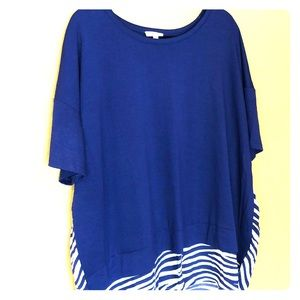Coming Blu Top Shirt High Low NWT 3X